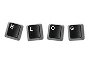 Keyboard keys spelling blog isolated against a white background