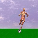 muscle woman playing soccer