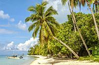 Beach lagoon on Bora Bora Island, French Polynesia