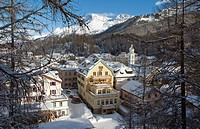 Winter view over the small mountian village of Sils-Maria near St  Moritz in Engadin, Switzerland