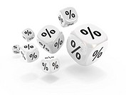 Shopping concept. Dices with percent sign