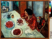 Strawberry. Chagall, Marc (1887-1985). Oil on canvas. Russian avant-garde. 1916. Private Collection. 45x59. Painting. © VG-Bild-Kunst Bonn