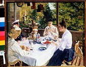 Tea break. Korovin, Konstantin Alexeyevich (1861-1939). Oil on canvas. Russian Painting of 19th cen. . 1888. State V. Polenov Open-air Museum of Histo...