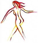 illustration _ backview of nude woman walking fast