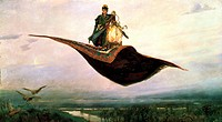 Riding a Flying Carpet. Vasnetsov, Viktor Mikhaylovich (1848-1926). Oil on canvas. Russian Painting of 19th cen. . 1880. State Art Museum, Nizhny Novg...