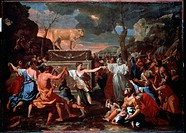 The Adoration of the Golden Calf. Poussin, Nicolas (1594-1665). Oil on canvas. Baroque. c. 1635. National Gallery, London. 154x214. Painting.