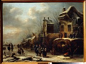 Skating rink on a river. Molenaer, Claes (before 1630-1676). Oil on wood. Baroque. 1665. State Art Museum, Tula. 68,5x92,5. Painting.