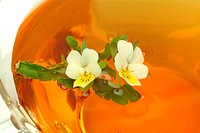 medicinal tea made of Heartsease _ wild pansy _ fresh blossoms and cup of tea _ herb _ medicinal plant _ Viola del pensiero _ te
