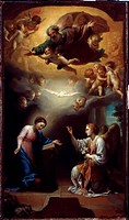 The Annunciation. Mengs, Anton Raphael (1728-1779). Oil on paper. German Painting of 18th cen. . 1779. State Hermitage, St. Petersburg. 69x41. Paintin...