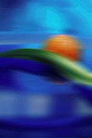 indistinct photograph of an orange bullet that with a green leaf in the water swims