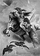 Ride of the Valkyrie. Keller, Ferdinand (1842–1922). Woodcut. Symbolism. Private Collection. Graphic arts.