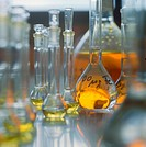 General symbol photograph of lab glasswares with yellow liquid