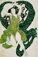 Design for the costume of Cleopatra for Ida Rubinstein. Bakst, Léon (1866-1924). Pencil, watercolour, Gouache, ink on paper. Theatrical scenic paintin...