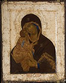 Our Lady of the Don. Theophanes the Greek (ca. 1340-ca. 1410). Tempera on panel. Russian icon painting. 1380s-1390s. State Tretyakov Gallery, Moscow. ...