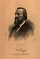 Portrait of the Historian Nikolai I. Kostomarov (1817-1885). Borel, Pyotr Fyodorovich (1829-1898). Lithograph. Neoclassicism. 1865. State History Muse...