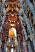 Interior of Basilica Sagrada Familia, Barcelona, Catalonia, Spain