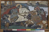 Alexander Nevsky Striking Birger Jarl. Roerich, Nicholas (1874-1947). Gouache on cardboard. Symbolism. 1904. State Russian Museum, St. Petersburg. 28x...