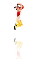 Latina girl wearing red yellow clothes jumping with reflection, isolated