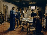 The Mealtime Prayer. Uhde, Fritz von (1848-1911). Oil on canvas. Realism. 1885. Staatliche Museen, Berlin. 130x165. Painting.