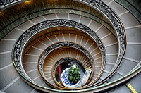 Rome, Italy  Spiral double helix stairs of the Vatican Museums