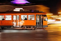 Tram at night, Torino, Italy, Europe