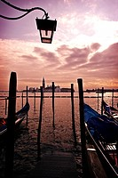 Gondole and Island of San Giorgio Maggiore viewed from Venice, Italy