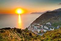 Sunset over Riomaggiore, Cinque Terre National Park, Province of La Spezia, Liguria, Italy, Europe