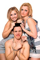 Two playful blonde and a guy in chains