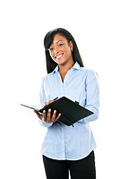 Smiling woman with leather portfolio folder