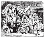 Alice in Wonderland Cook, Duchess, Cheshire Cat, Baby, and Alice  Duchess is sitting on a three-legged stool in the middle, nursing a baby  Alice´s Ad...