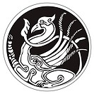 A druidic astronomical symbol of a phoenix bird, in a circle pattern artwork, isolated against a white background
