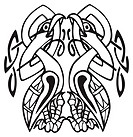 Celtic design of a two birds biting their own neck, with knotted lines and pattern  Great for artwork or tattoo