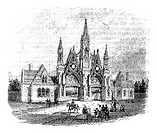 The entrance of GreenWood Cemetery at Brooklyn, United States  Vintage engraving from 1890s  Old engraved illustration of the Greenwood cemetery gates...