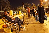 Night street scene in Aqaba, Jordan