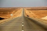 Typical long empty road in the Badia, Jordan