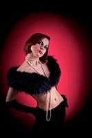 Woman portrait with fur boa in retro style