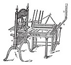 Washington hand press, vintage engraving  Old engraved illustration of Washington hand press isolated on a white background