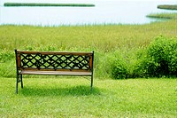 Bench over the green grass on the lake