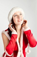 attractive girl in xmas clothing
