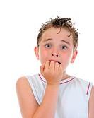 Portrait of a frightened boy