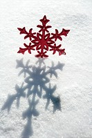 Christmas red star in a snow day