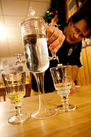 France, Jura, restaurant, alcohol, schnapps, absinthe, drink, landlord, proprietor, glasses