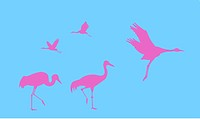 vector silhouette of the cranes on blue background