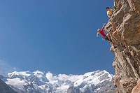 Mountain, mountains, cliff, rock, mountains, summer sport, sport, spare time, leisure, adventure, canton, Graubünden, Grisons, Switzerland, Europe, En...