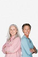 Studio portrait of two senior women