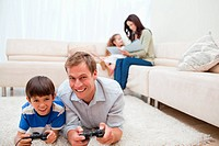 Young family enjoys spending their leisure time together
