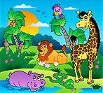 African scenery with animals 1 _ color illustration.
