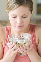 Woman enjoying aromatherapy