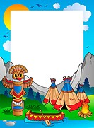 Frame with Indian village _ thematic illustration.
