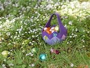 Basket of Easter eggs in grass